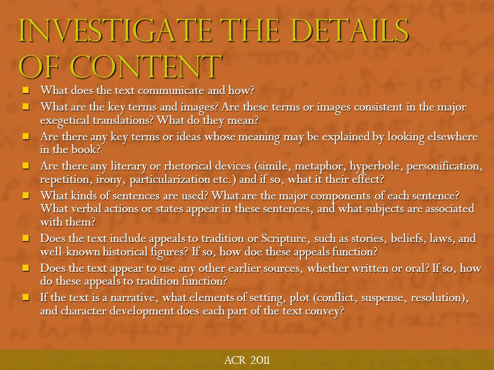 """ACR 2011 Investigate Details of Content """"It is not in the interest of extravagant ambition that we trouble ourselves tith this detailed exposition, bu"""
