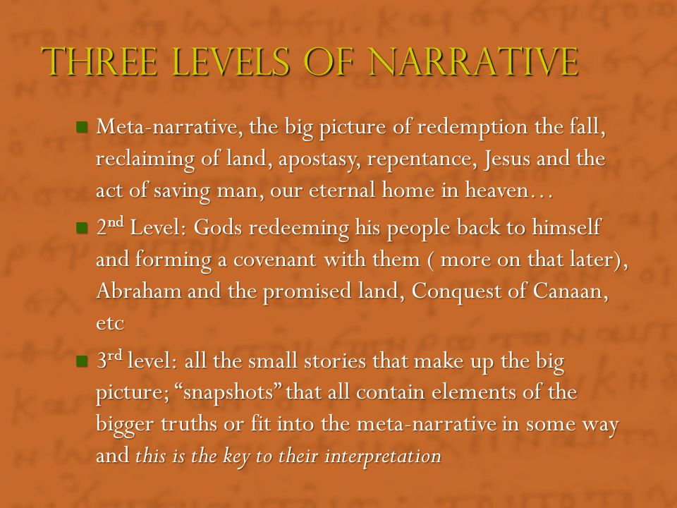 """""""Stories with a theological point of view"""" """"Stories with a theological point of view"""" 40% of the OT is Narrative 40% of the OT is Narrative Has Litera"""