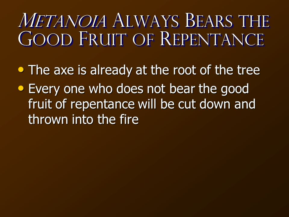 M etanoia A LWAYS B ears the G ood F ruit of R epentance The axe is already at the root of the tree The axe is already at the root of the tree Every one who does not bear the good fruit of repentance will be cut down and thrown into the fire Every one who does not bear the good fruit of repentance will be cut down and thrown into the fire