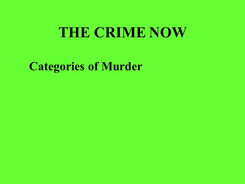 THE CRIME NOW Categories of Murder