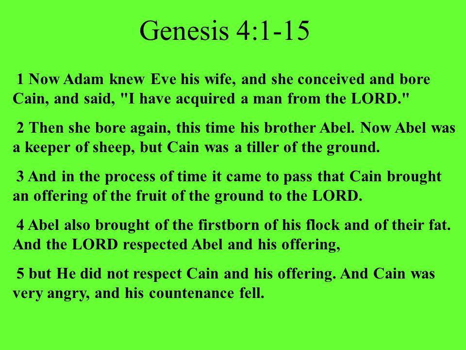 Genesis 4:1-15 1 Now Adam knew Eve his wife, and she conceived and bore Cain, and said, I have acquired a man from the LORD. 2 Then she bore again, this time his brother Abel.