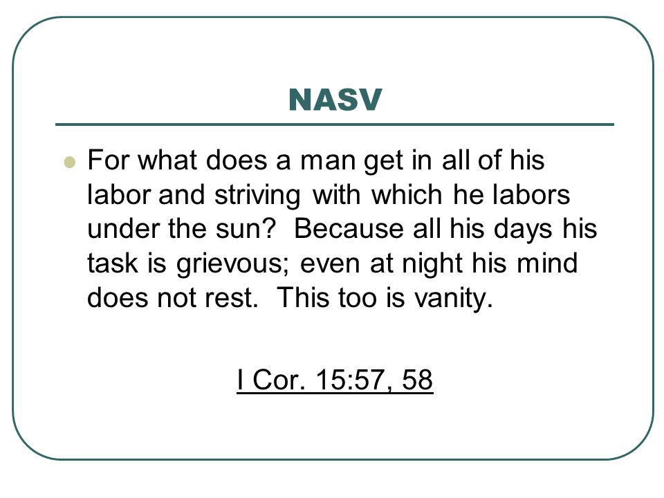 NASV For what does a man get in all of his labor and striving with which he labors under the sun.