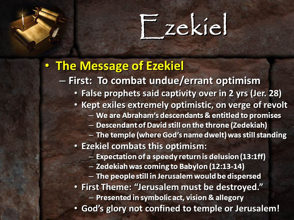 Ezekiel The Message of Ezekiel The Message of Ezekiel – Second: To combat despair among Jews When the final calamity came in 586 B.C.