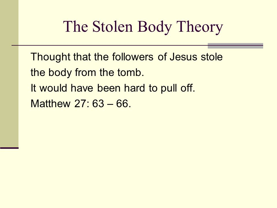 The Stolen Body Theory Thought that the followers of Jesus stole the body from the tomb.