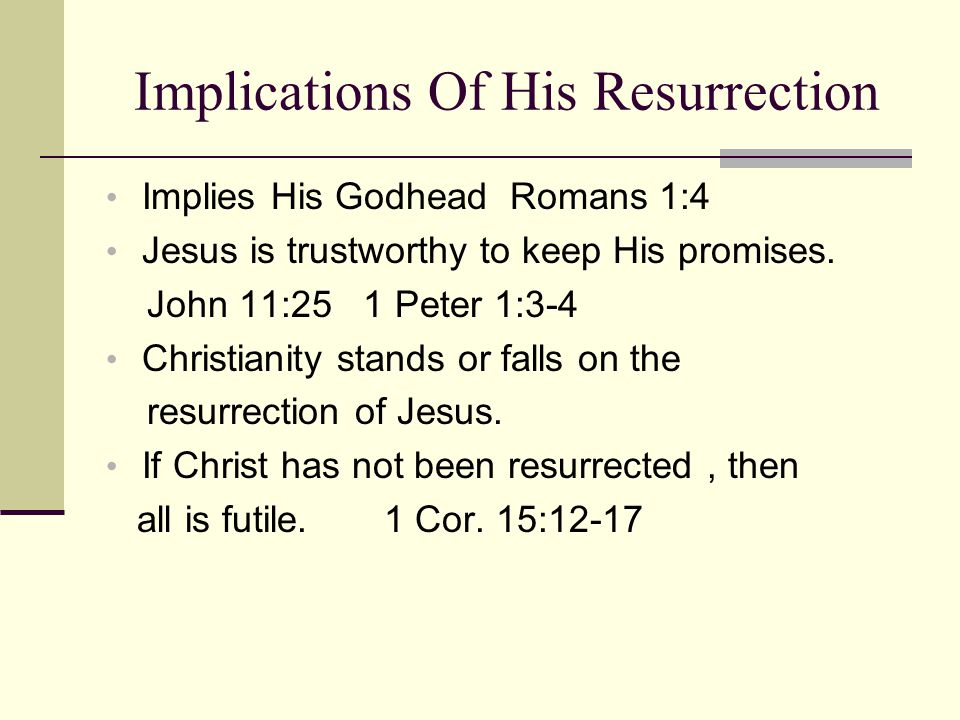 Implications Of His Resurrection Implies His Godhead Romans 1:4 Jesus is trustworthy to keep His promises.