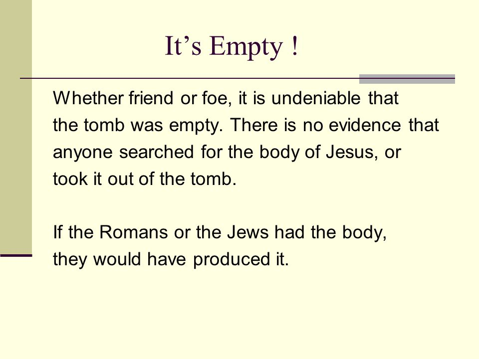 It's Empty . Whether friend or foe, it is undeniable that the tomb was empty.