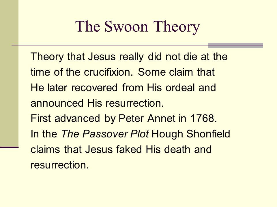 The Swoon Theory But also we can not ignore that in the interest of theological doctrine, contemporary circumstances, and effective story telling, nothing wrong was seen in creating views for Jesus to express. J.