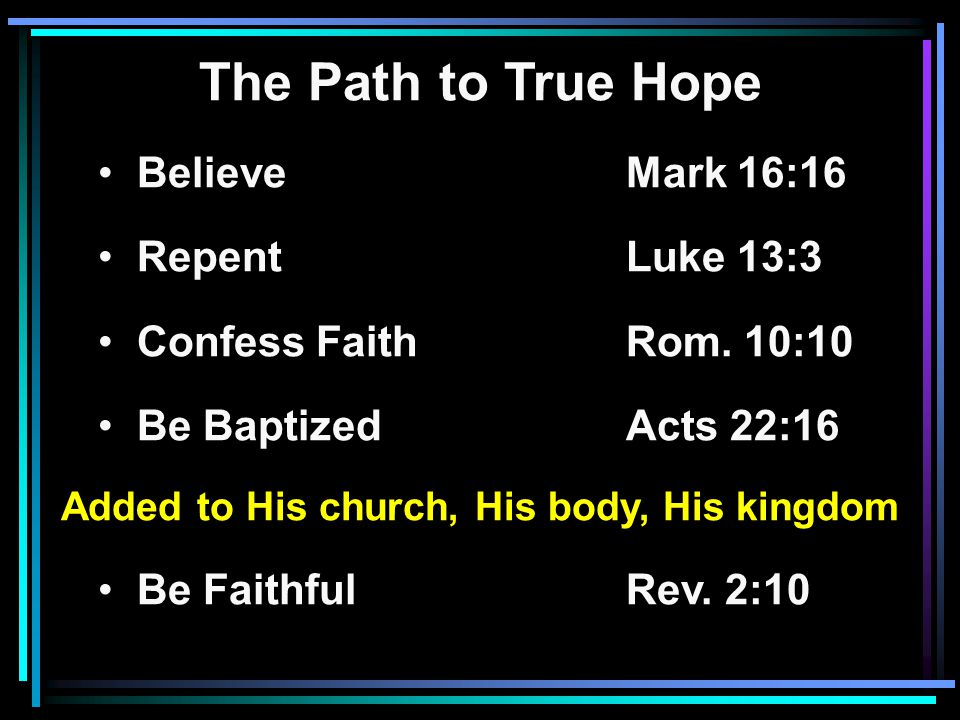 The Path to True Hope Believe Mark 16:16 RepentLuke 13:3 Confess FaithRom.