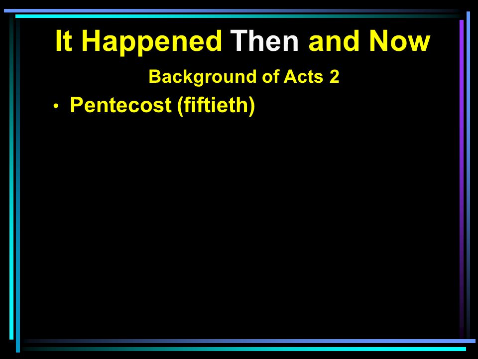 It Happened Then and Now Background of Acts 2 Pentecost (fiftieth)