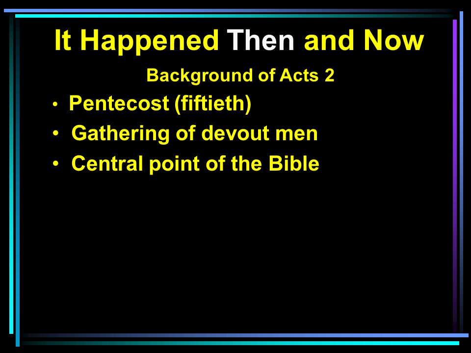 It Happened Then and Now Background of Acts 2 Pentecost (fiftieth) Gathering of devout men Central point of the Bible