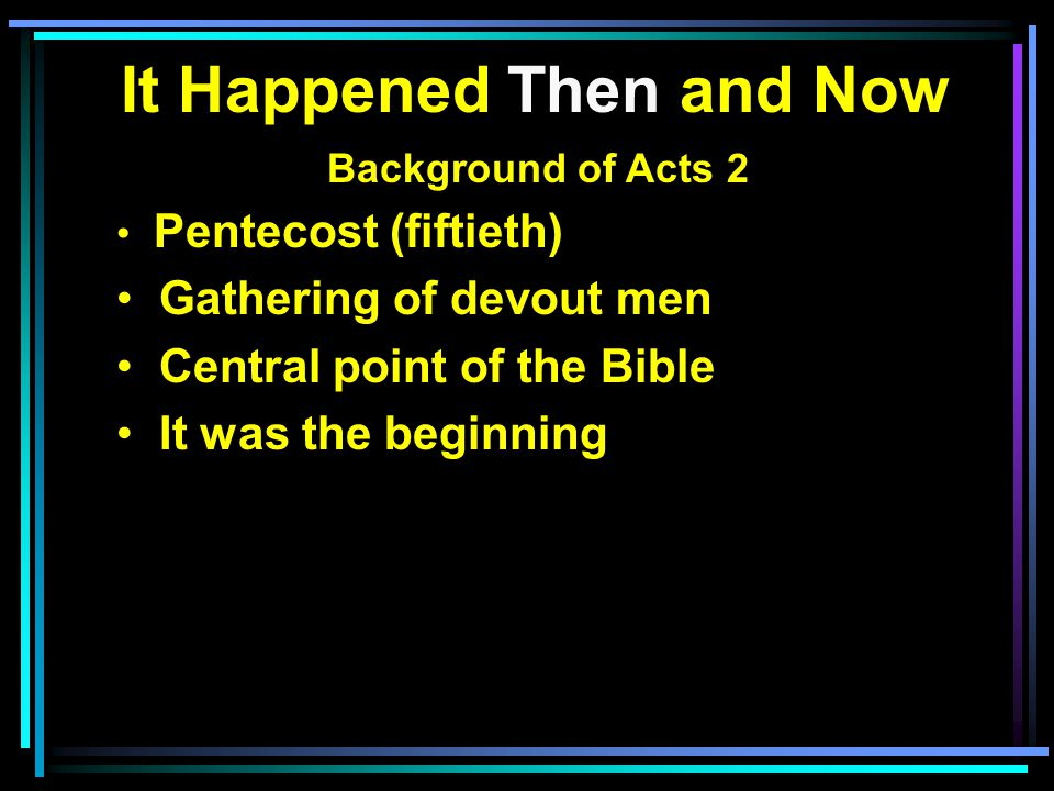 It Happened Then and Now Background of Acts 2 Pentecost (fiftieth) Gathering of devout men Central point of the Bible It was the beginning