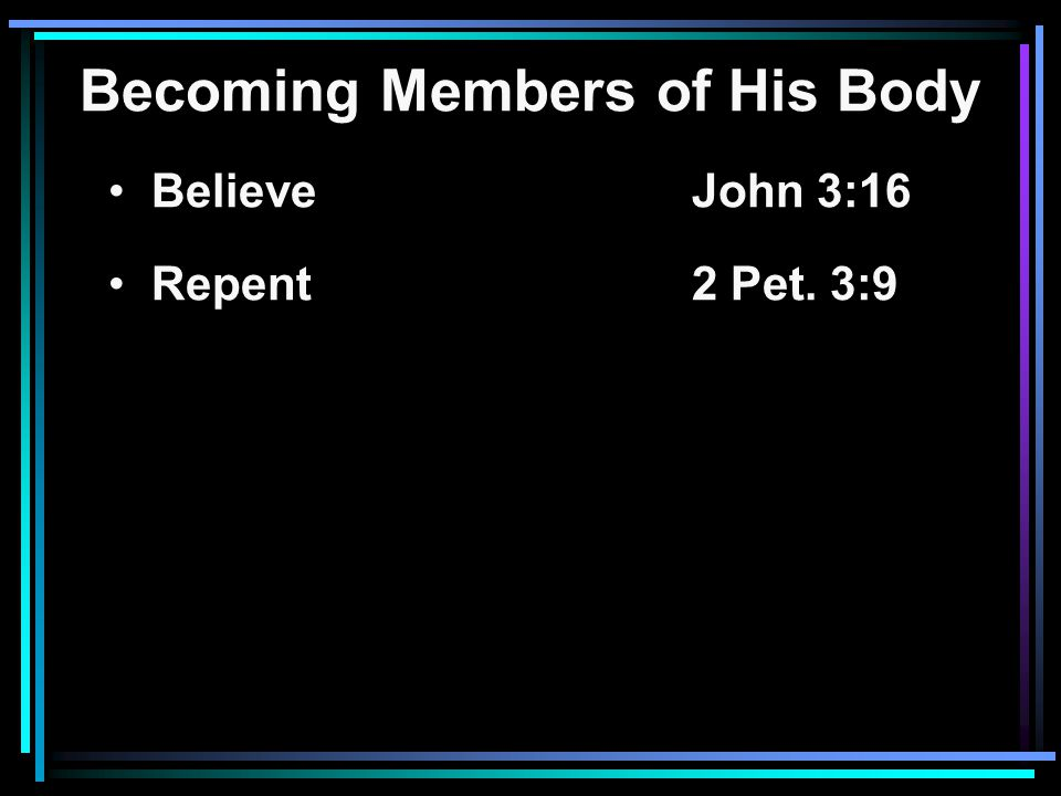 Becoming Members of His Body Believe John 3:16 Repent2 Pet. 3:9