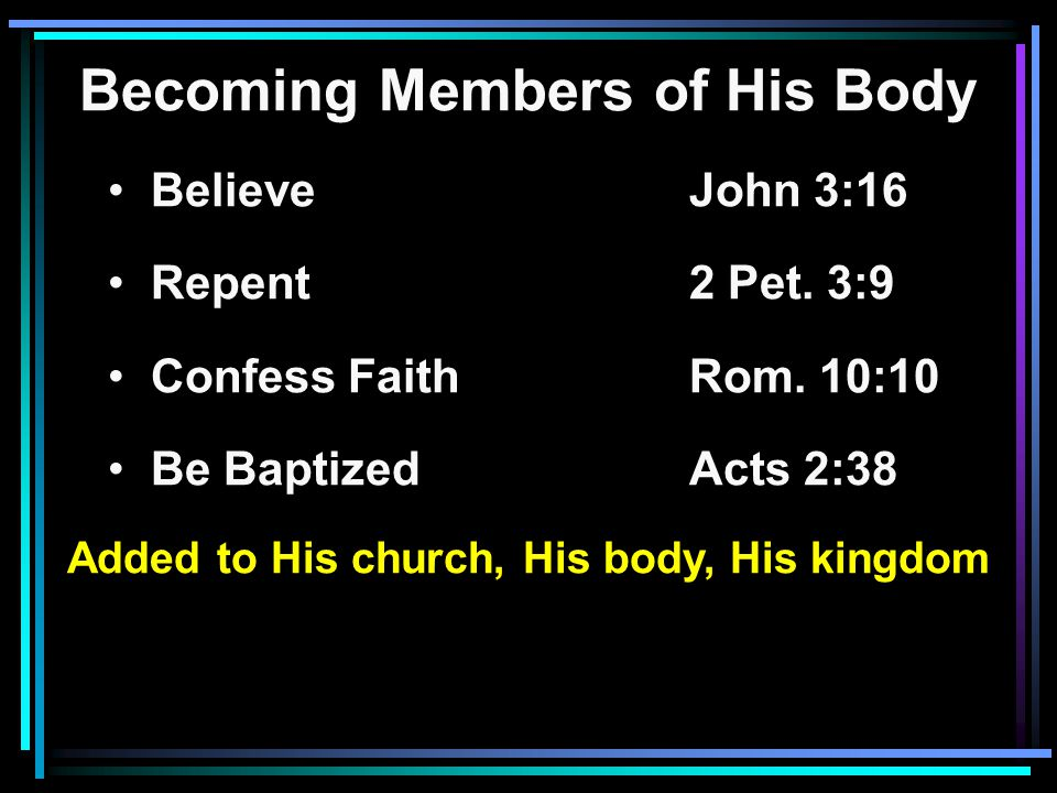 Becoming Members of His Body Believe John 3:16 Repent2 Pet.