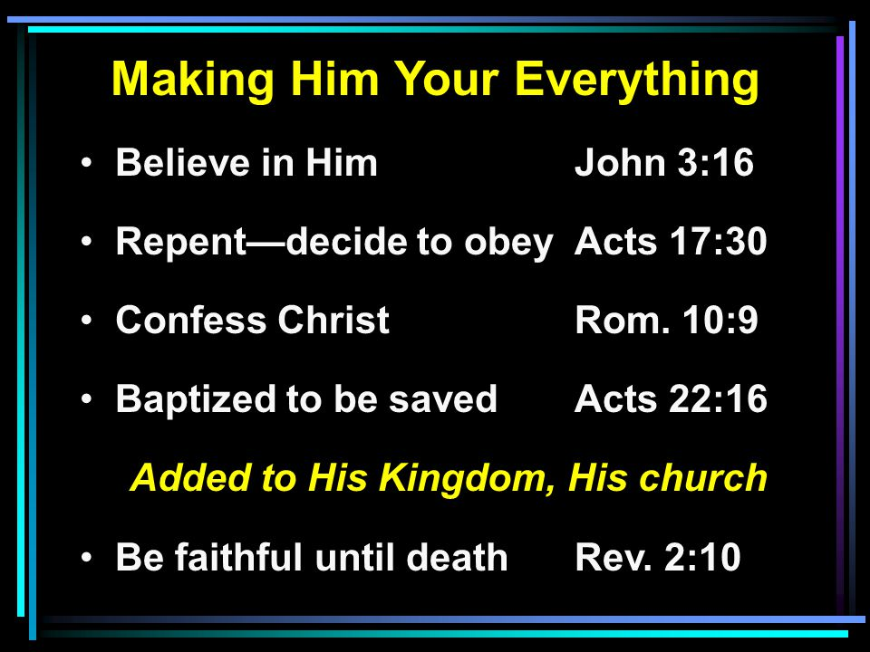 Making Him Your Everything Believe in HimJohn 3:16 Repent—decide to obeyActs 17:30 Confess ChristRom.