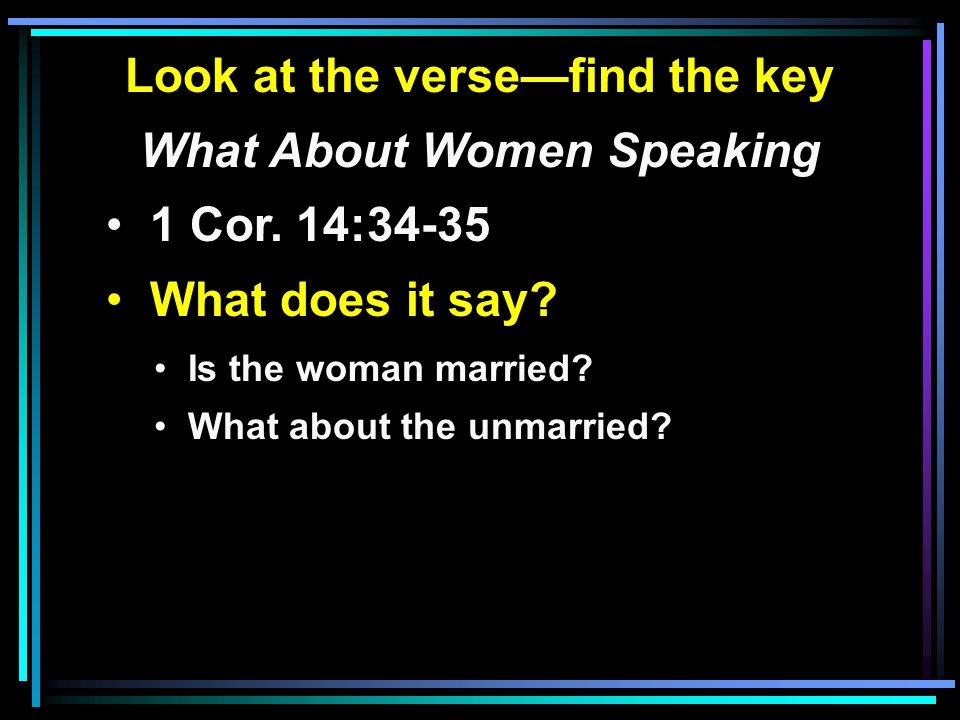 Look at the verse—find the key What About Women Speaking 1 Cor.