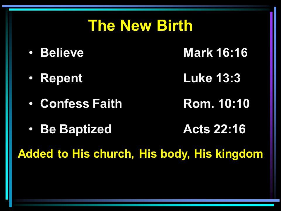 The New Birth BelieveMark 16:16 RepentLuke 13:3 Confess FaithRom.