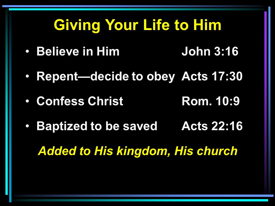 Giving Your Life to Him Believe in HimJohn 3:16 Repent—decide to obeyActs 17:30 Confess ChristRom.