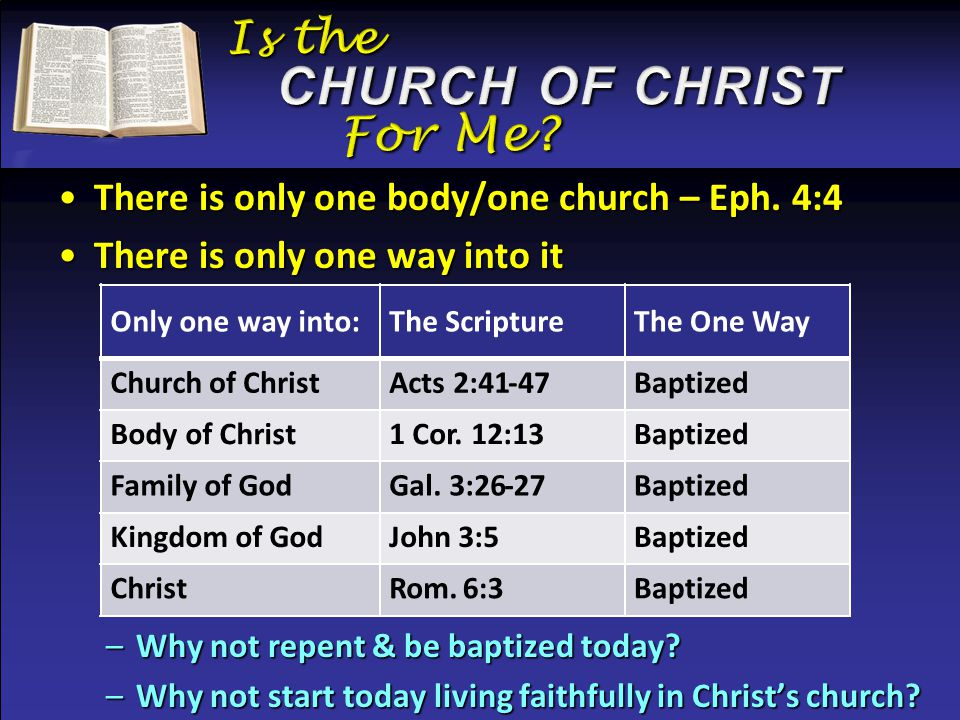 There is only one body/one church – Eph. 4:4There is only one body/one church – Eph.