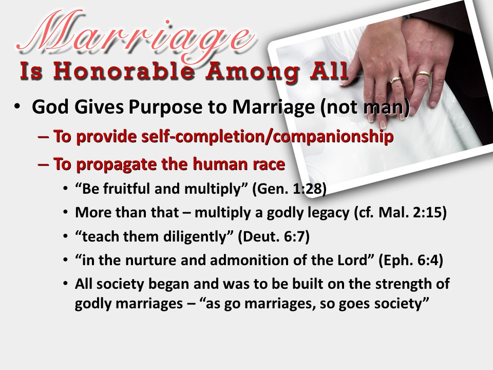 God Gives Purpose to Marriage (not man) God Gives Purpose to Marriage (not man) – To provide self-completion/companionship – To propagate the human ra
