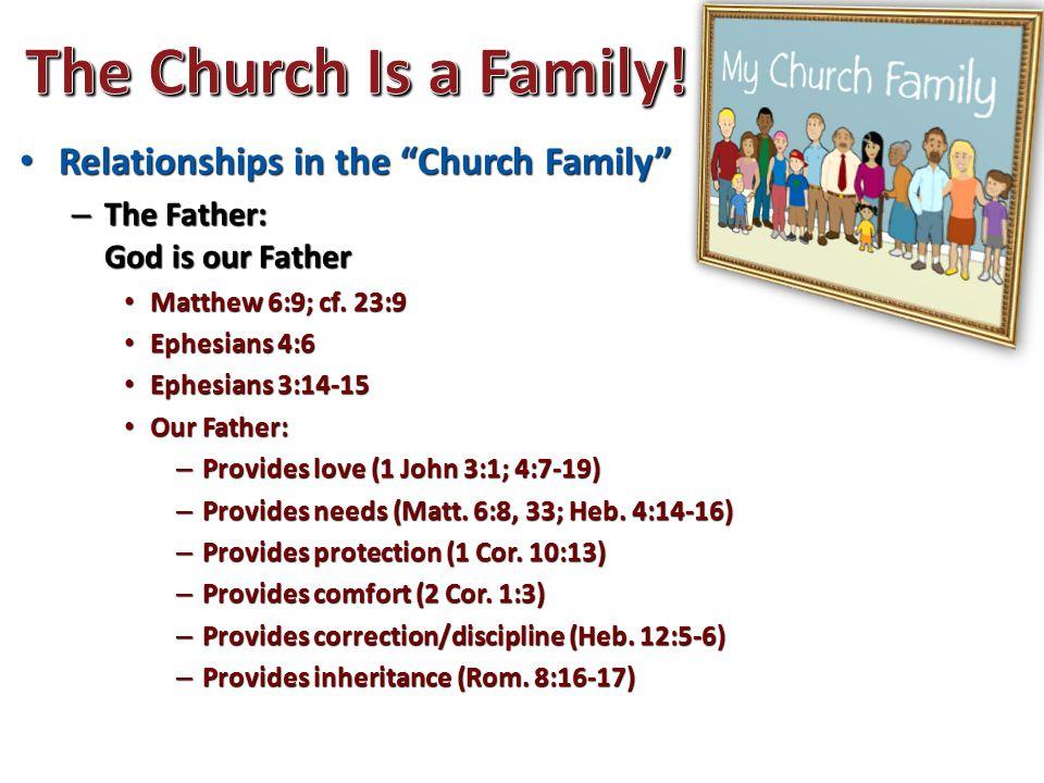 """Relationships in the """"Church Family"""" Relationships in the """"Church Family"""" – The Father: God is our Father Matthew 6:9; cf. 23:9 Matthew 6:9; cf. 23:9"""