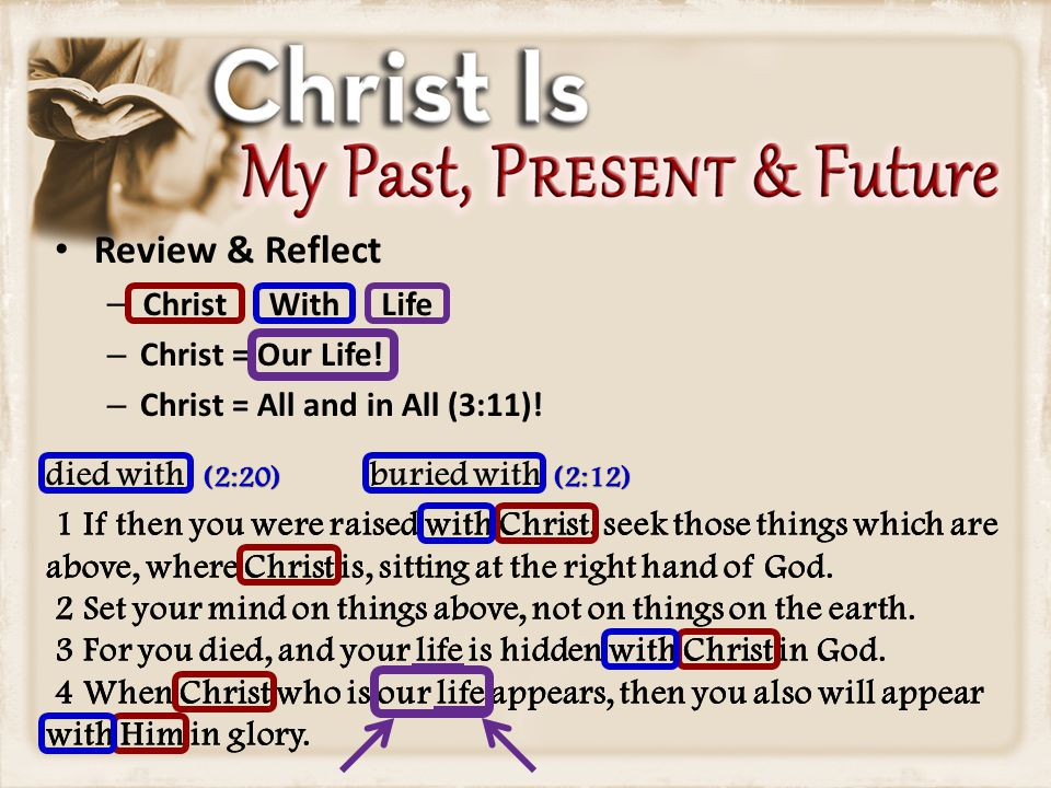 Review & Reflect – – Christ = Our Life. – Christ = All and in All (3:11).