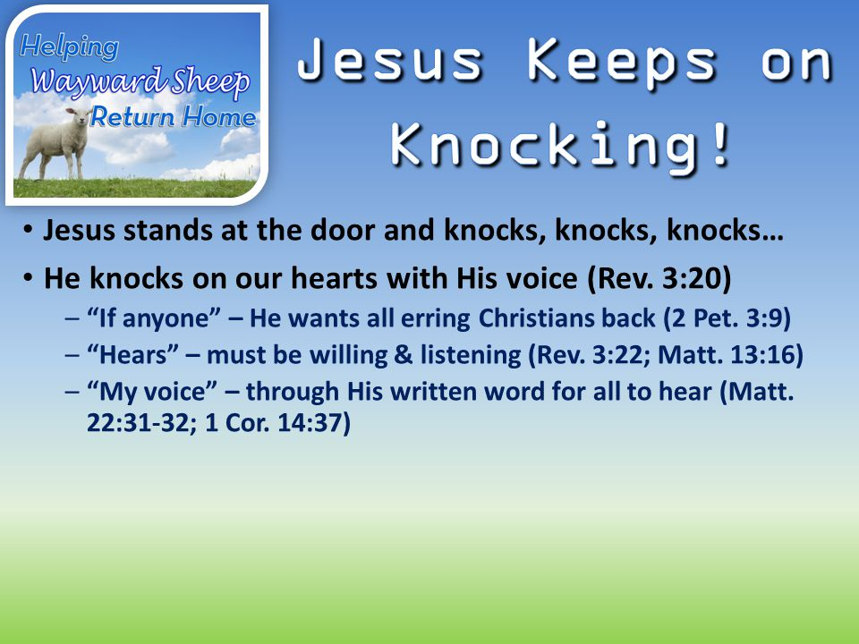 Jesus stands at the door and knocks, knocks, knocks… He knocks on our hearts with His voice (Rev.