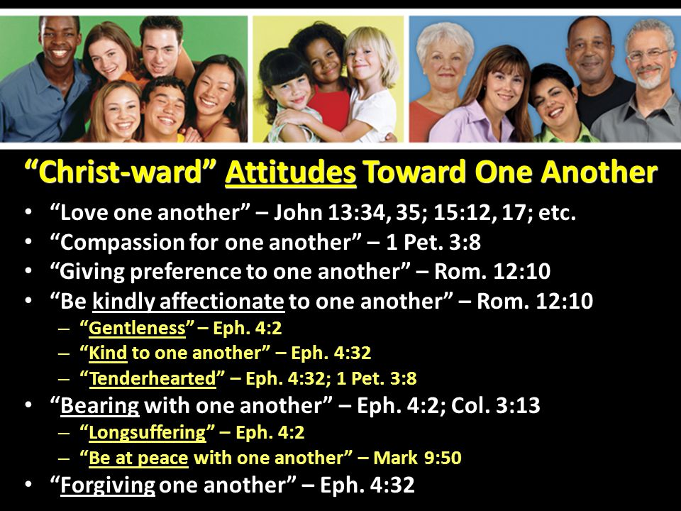 Christ-ward Actions Toward One Another Fellowship with one another – 1 John 1:7 – Receive one another – Rom.