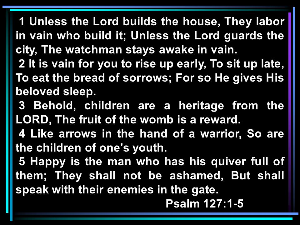 Looking at our Memory Verse: 1 Unless the LORD builds the house, They labor in vain who build it; Unless the LORD guards the city, The watchman stays awake in vain.