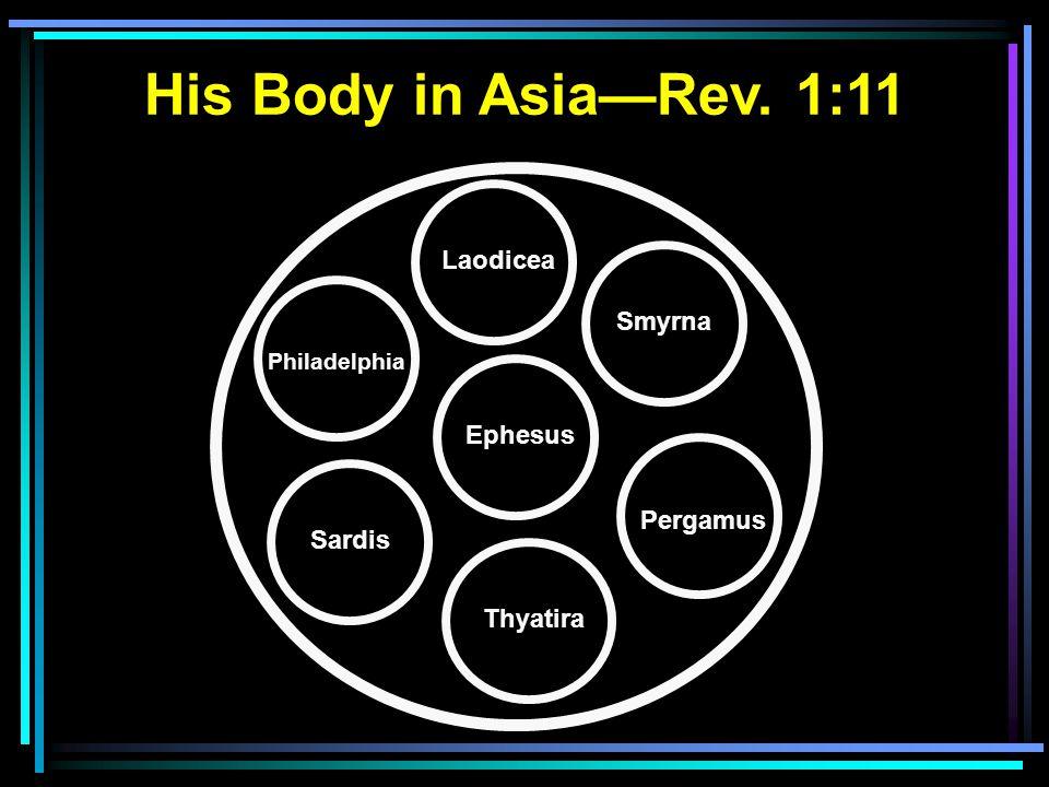 Ephesus Thyatira Smyrna Pergamus Philadelphia Laodicea His Body in Asia—Rev. 1:11 Sardis