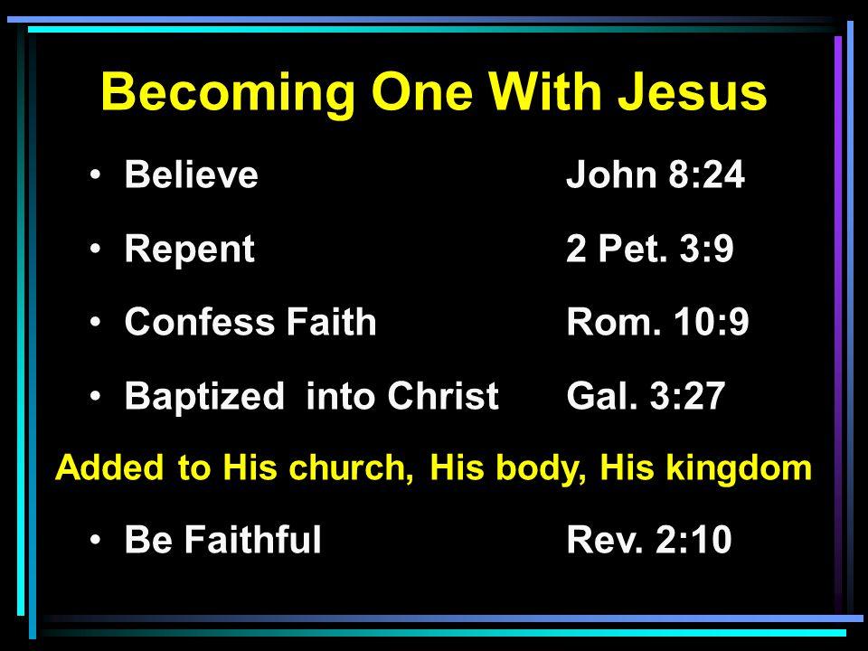 Becoming One With Jesus Believe John 8:24 Repent2 Pet.