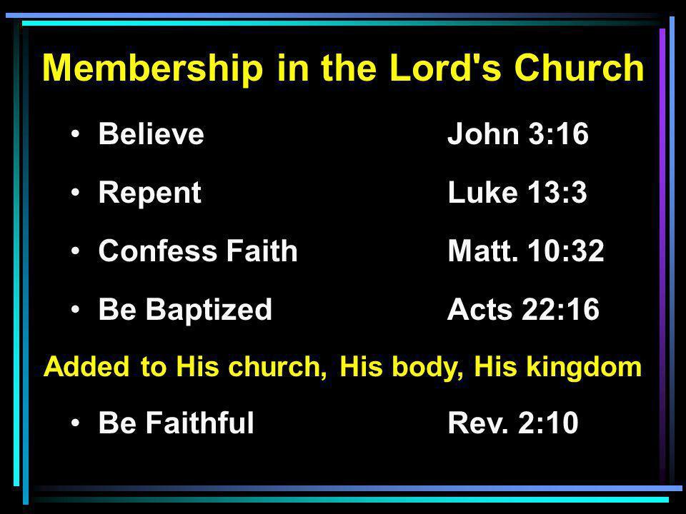 Membership in the Lord s Church Believe John 3:16 RepentLuke 13:3 Confess FaithMatt.