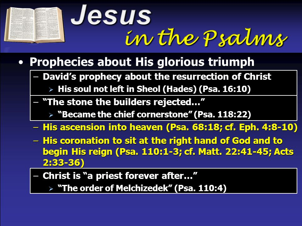 Prophecies about His glorious triumph –David's prophecy about the resurrection of Christ  His soul not left in Sheol (Hades) (Psa.
