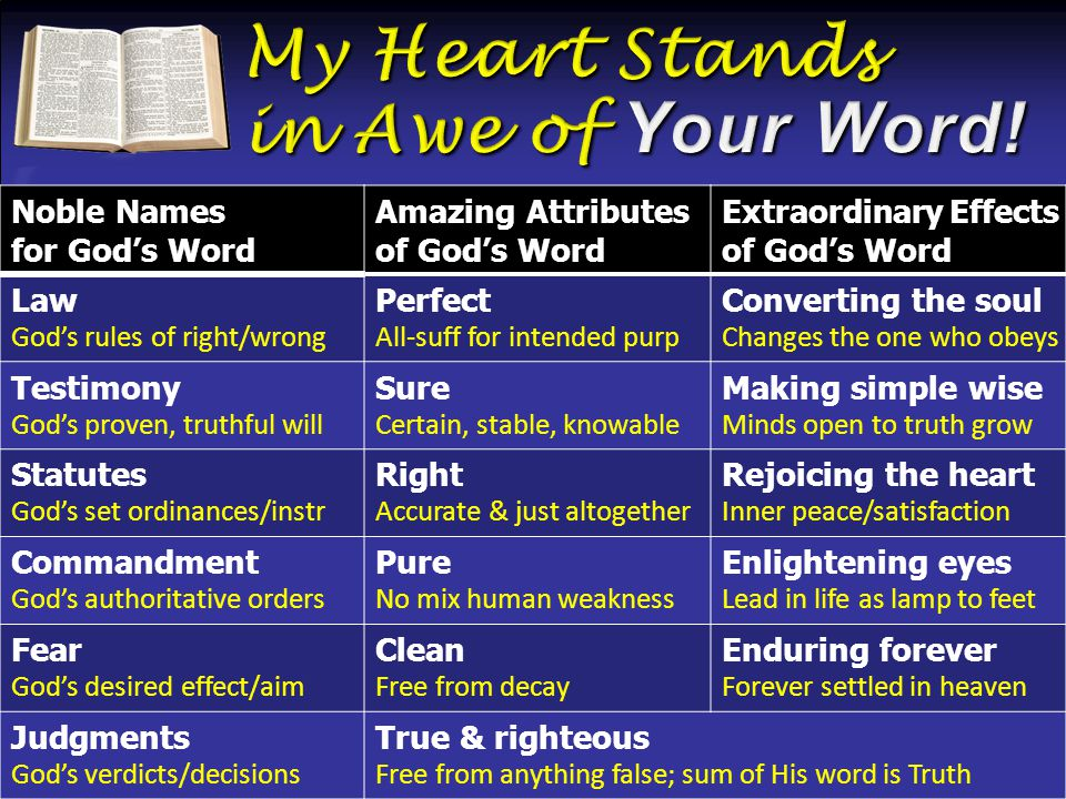 Noble Names for God's Word Amazing Attributes of God's Word Extraordinary Effects of God's Word Law God's rules of right/wrong Perfect All-suff for intended purp Converting the soul Changes the one who obeys Testimony God's proven, truthful will Sure Certain, stable, knowable Making simple wise Minds open to truth grow Statutes God's set ordinances/instr Right Accurate & just altogether Rejoicing the heart Inner peace/satisfaction Commandment God's authoritative orders Pure No mix human weakness Enlightening eyes Lead in life as lamp to feet Fear God's desired effect/aim Clean Free from decay Enduring forever Forever settled in heaven Judgments God's verdicts/decisions True & righteous Free from anything false; sum of His word is Truth
