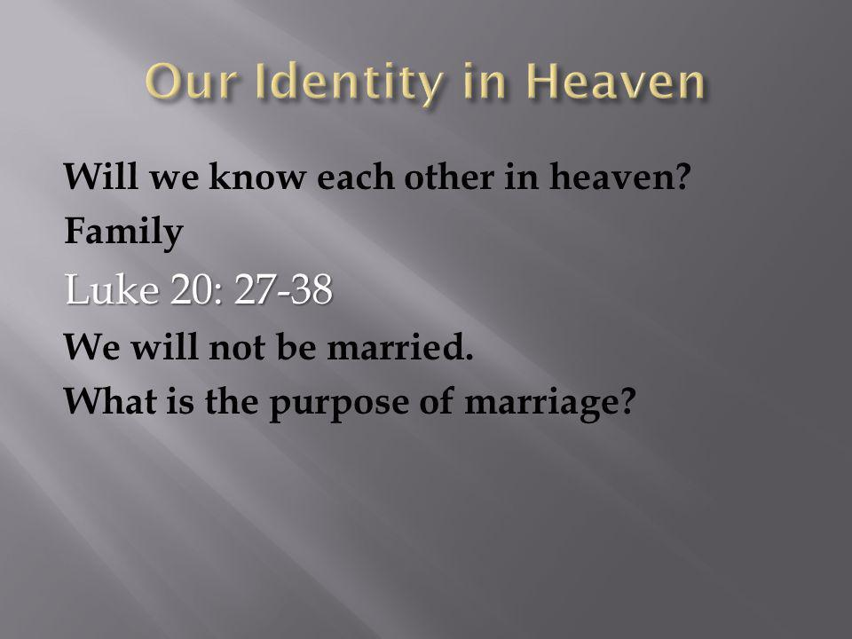 Will we know each other in heaven. Family Luke 20: 27-38 We will not be married.