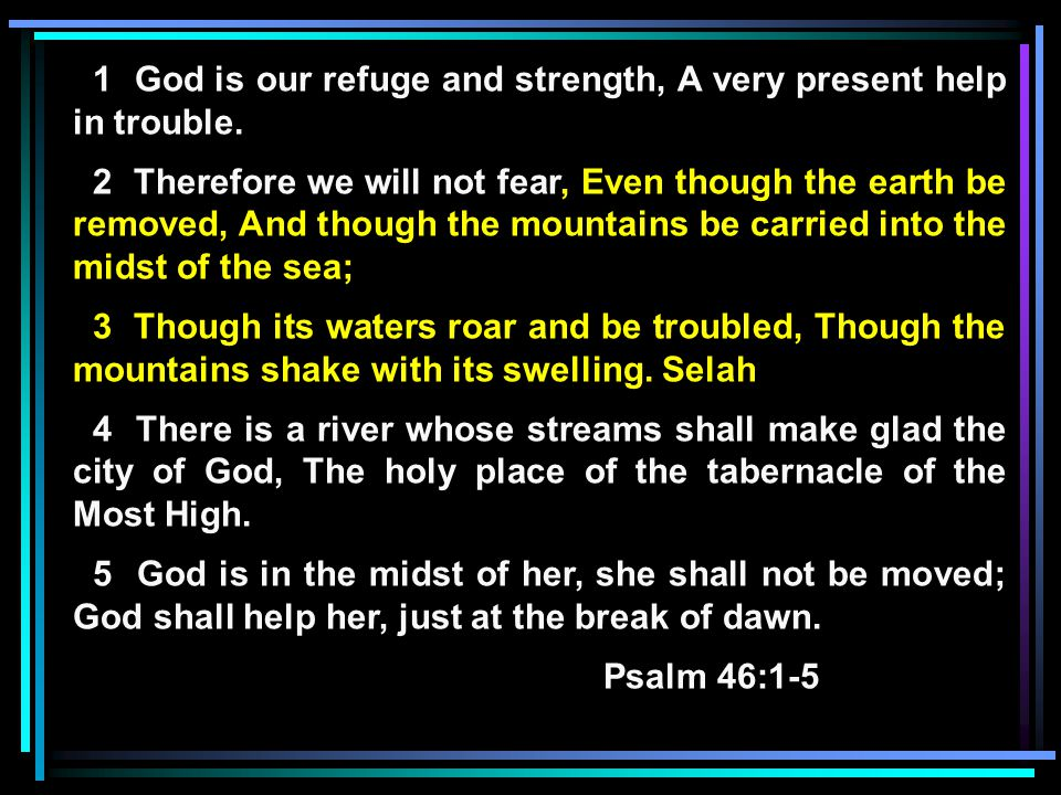 David's View of God as a Refuge He saw the turbulent world in which he lived He saw God as a place of refuge (24 times in Psalms) He saw God as a place of strength He saw God providing a river for the holy city He saw joy in that holy city because God blessed it He saw God tabernacling in that city He saw God in the midst of that city