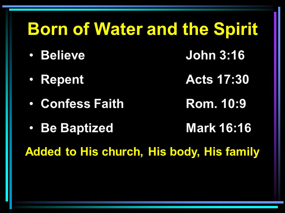 Born of Water and the Spirit Believe John 3:16 RepentActs 17:30 Confess FaithRom.