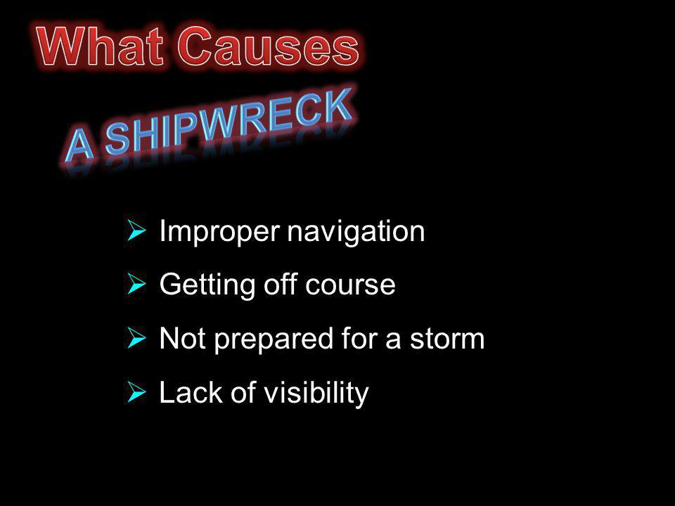  Improper navigation  Getting off course  Not prepared for a storm  Lack of visibility