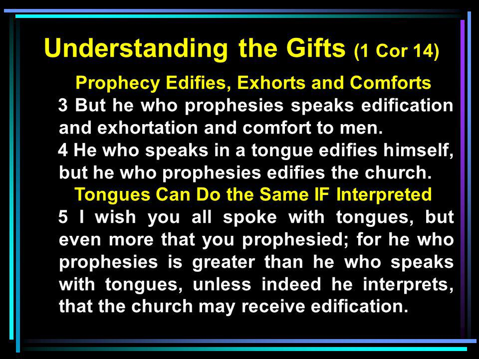Understanding the Gifts (1 Cor 14) Prophecy Edifies, Exhorts and Comforts 3 But he who prophesies speaks edification and exhortation and comfort to me