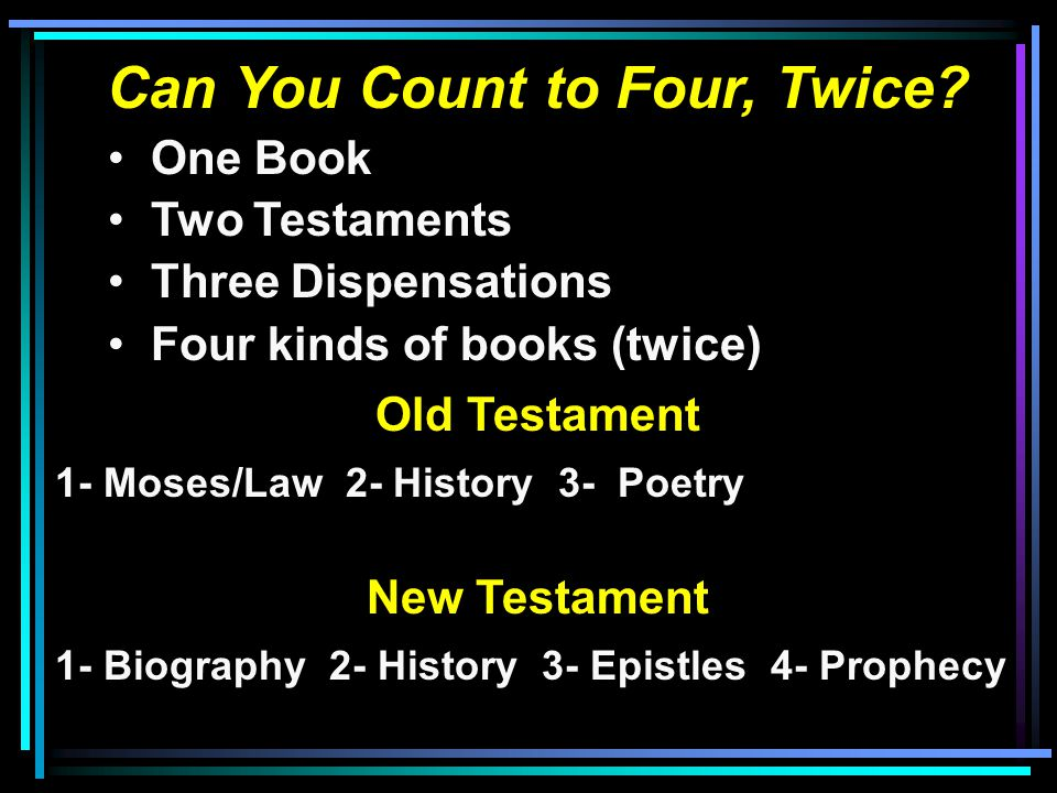 Can You Count to Four, Twice? One Book Two Testaments Three Dispensations Four kinds of books (twice) Old Testament 1- Moses/Law 2- History 3- Poetry