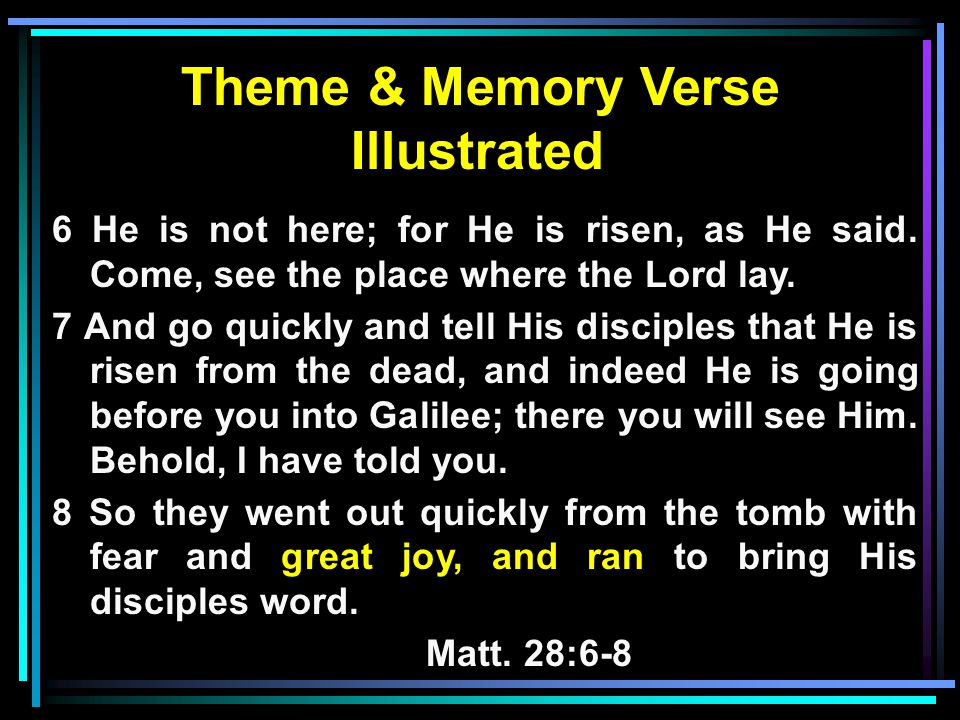 Theme & Memory Verse Illustrated 6 He is not here; for He is risen, as He said.