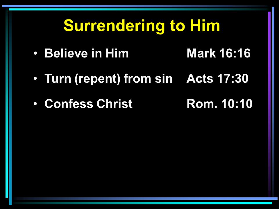 Surrendering to Him Believe in HimMark 16:16 Turn (repent) from sinActs 17:30 Confess ChristRom.