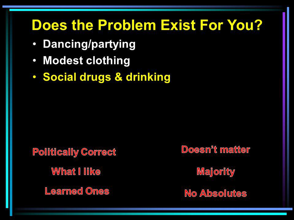 Does the Problem Exist For You? Dancing/partying Modest clothing Social drugs & drinking