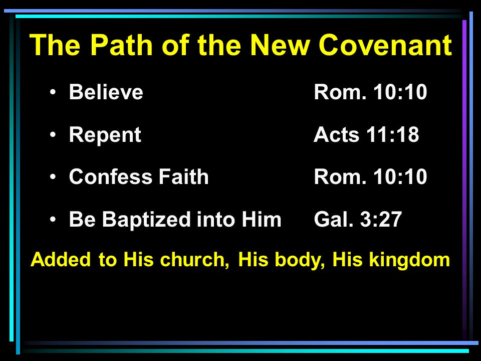 The Path of the New Covenant BelieveRom. 10:10 RepentActs 11:18 Confess FaithRom.