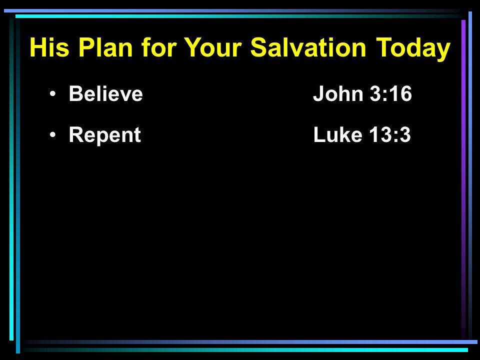 His Plan for Your Salvation Today Believe John 3:16 RepentLuke 13:3