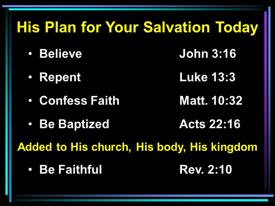 His Plan for Your Salvation Today Believe John 3:16 RepentLuke 13:3 Confess FaithMatt. 10:32 Be BaptizedActs 22:16 Added to His church, His body, His