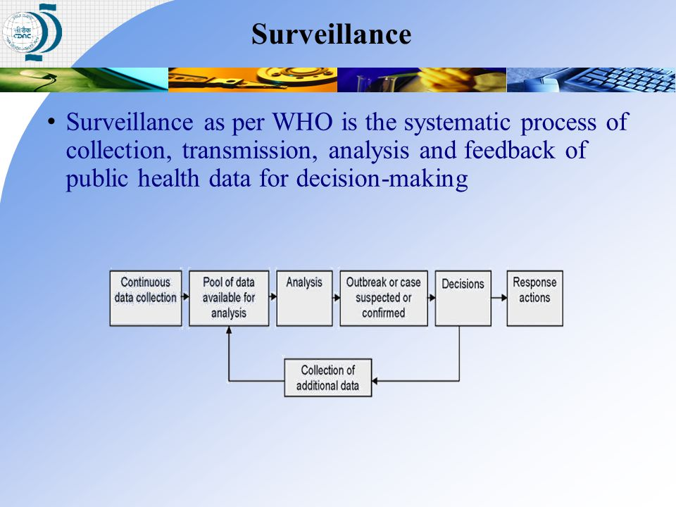 Surveillance as per WHO is the systematic process of collection, transmission, analysis and feedback of public health data for decision-making Surveil