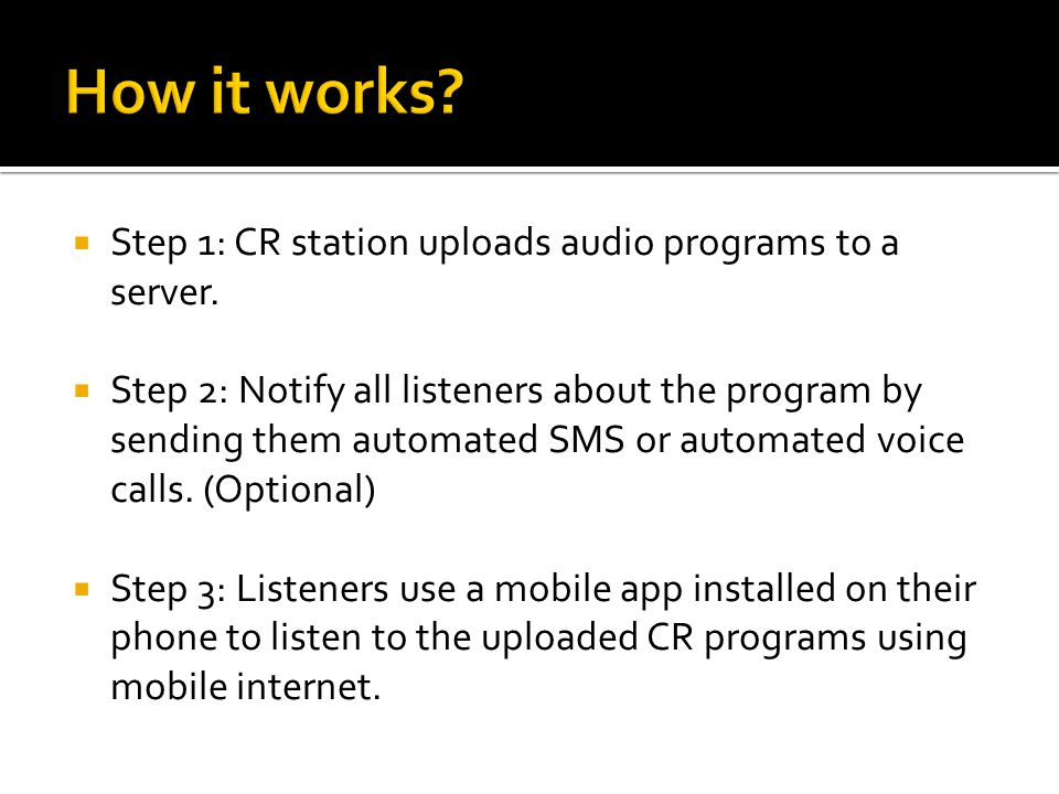  Step 1: CR station uploads audio programs to a server.