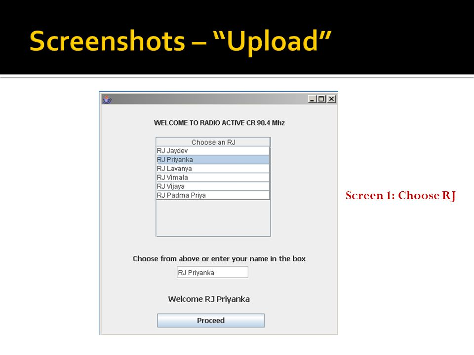Screen 2: Uploading Audio Content