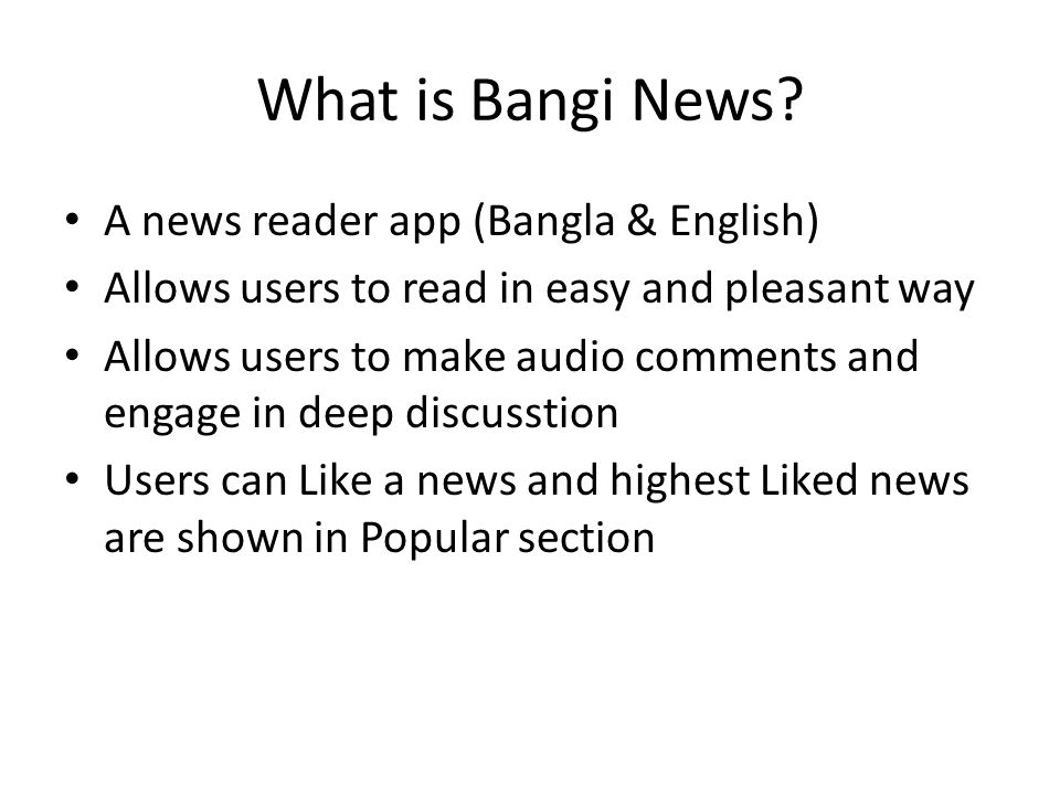 What is Bangi News.