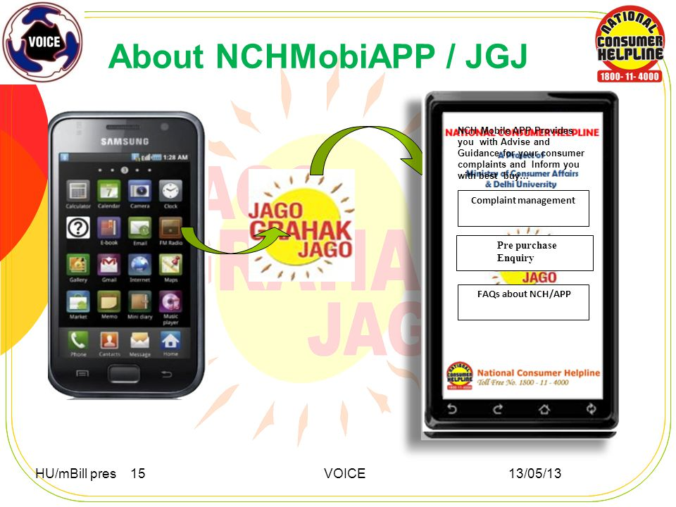 About NCHMobiAPP / JGJ HU/mBill pres 15 VOICE 13/05/13 NCH Mobile APP Provides you with Advise and Guidance for your consumer complaints and Inform you with best buy… Complaint management Pre purchase Enquiry Complaint management NCH Mobile APP Provides you with Advise and Guidance for your consumer complaints and Inform you with best buy… FAQs about NCH/APP
